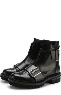 Кожаные ботинки на молнии с брогированием Dsquared2