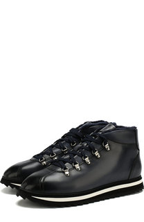 Кожаные ботинки на шнуровке с внутренней меховой отделкой Doucals