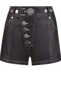 Джинсовые мини-шорты с контрастной прострочкой Alexander Wang