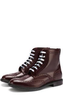 Высокие кожаные ботинки на шнуровке с брогированием Burberry