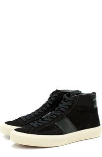 Высокие замшевые кеды на шнуровке Tom Ford