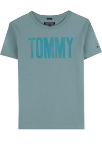 Хлопковая футболка с логотипом бренда Tommy Hilfiger