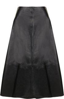 Кожаная юбка-миди на молнии Yves Salomon