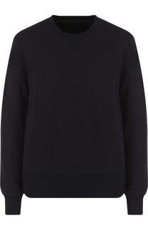 Хлопковый пуловер с круглым вырезом и контрастной вставкой Sacai