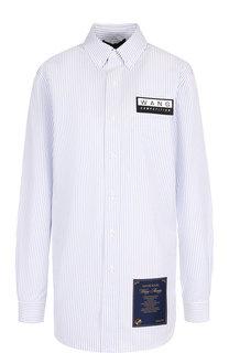 Хлопковая блуза с декоративными нашивками Alexander Wang