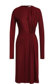 Шерстяное платье с круглым вырезом и драпировкой Lanvin