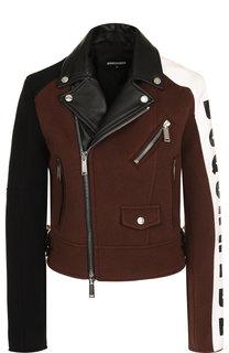 Шерстяная куртка на молнии с кожаной отделкой Dsquared2