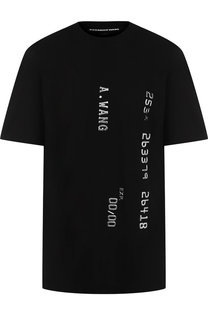 Хлопковая футболка с круглым вырезом и декоративной отделкой Alexander Wang