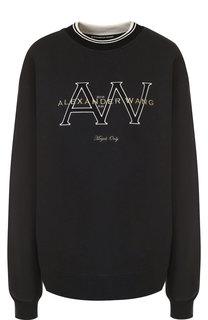 Хлопковый пуловер с круглым вырезом и логотипом бренда Alexander Wang