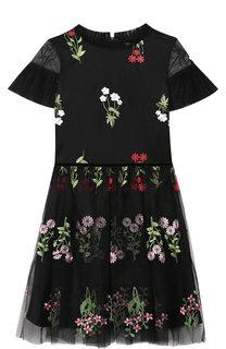Платье с цветочной вышивкой David Charles