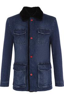 Утепленный джинсовый френч с меховой отделкой Kiton