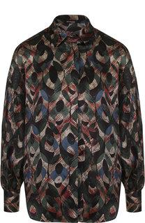 Шелковая блуза с принтом Kiton