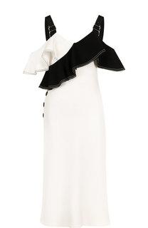 Платье-миди на контрастных бретелях с оборками self-portrait