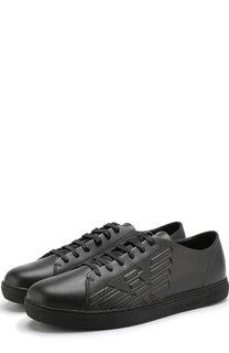 Кожаные кеды на шнуровке Emporio Armani