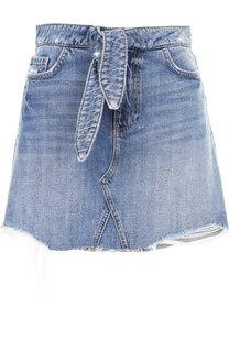 Джинсовая мини-юбка с потертостями и поясом Paige