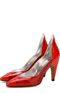 Кожаные туфли с отделкой из кожи питона Givenchy