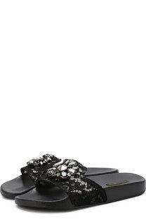 Резиновые шлепанцы Ciabatta с кружевом и брошью Dolce & Gabbana