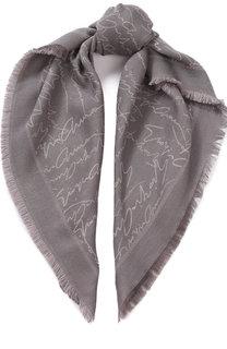 Платок из смеси шерсти и хлопка с шелком Giorgio Armani