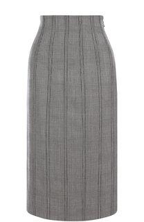Шерстяная юбка-миди со шнуровкой в клетку Thom Browne