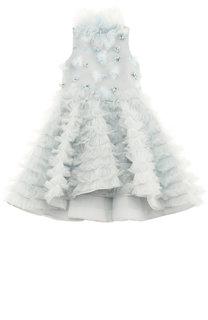 Платье с плиссированными оборками и асимметричным подолом Mischka Aoki
