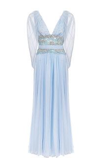Шелковое платье-макси с V-образным вырезом и декоративной отделкой Zuhair Murad