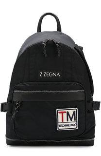 Текстильный рюкзак с внешним карманом на молнии Z Zegna