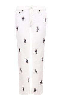 Укороченные джинсы с декоративной вышивкой Polo Ralph Lauren