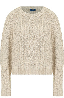 Вязаный пуловер из смеси хлопка и льна с шелком Polo Ralph Lauren