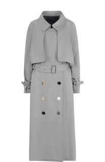 Однотонное шерстяное пальто с поясом Golden Goose Deluxe Brand