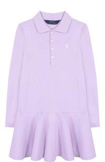 Хлопковое платье с логотипом бренда Polo Ralph Lauren