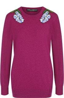Кашемировый пуловер с декоративной нашивкой Dolce & Gabbana