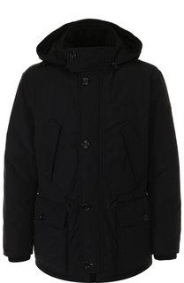 Утепленная хлопковая куртка на молнии с капюшоном BOSS