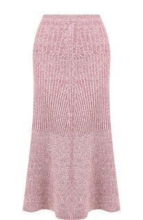 Вязаная юбка-миди из смеси шерсти и льна Victoria Beckham
