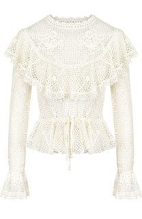 Вязаная хлопковая блуза с оборками и воротником-стойкой Zimmermann