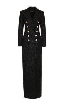 Двубортное шерстяное пальто с контрастными пуговицами Balmain