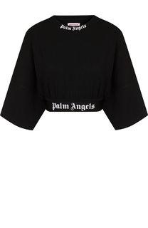Укороченный хлопковый топ с логотипом бренда Palm Angels