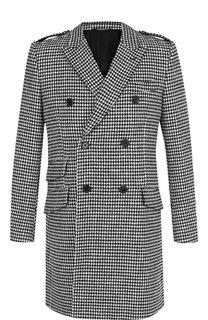 Двубортное пальто из смеси хлопка и шерсти Dolce & Gabbana