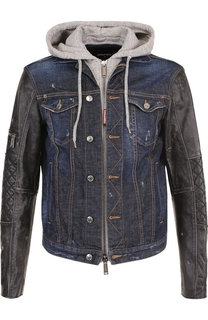 Джинсовая куртка на молнии с кожаными рукавами Dsquared2