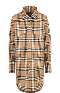 Удлиненная хлопковая блуза с накладными карманами Burberry