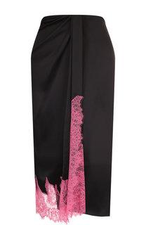 Шелковая юбка-миди с кружевной вставкой Walk of Shame