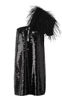 Мини-платье с пайетками и перьевой отделкой No. 21