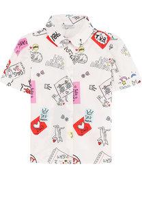 Хлопковая блуза с принтом Dolce & Gabbana