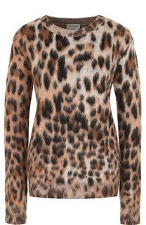 Пуловер с круглым вырезом и леопардовым принтом Saint Laurent