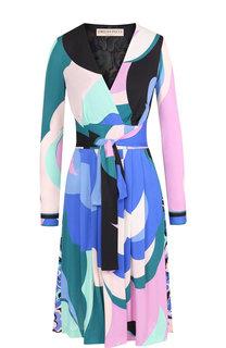 Платье-миди с V-образным вырезом и поясом Emilio Pucci
