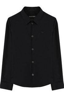 Рубашка из смеси хлопка и полиамида с воротником кент Emporio Armani