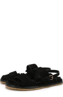 Кожаные сандалии Noé с внутренней меховой отделкой Saint Laurent