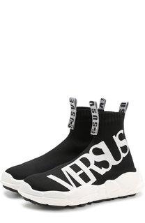 Текстильные кроссовки с логотипом бренда Versus Versace