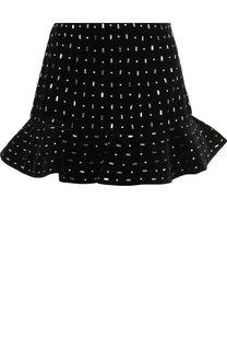 Хлопковая мини-юбка с оборкой и декоративной отделкой Valentino