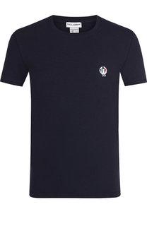 Хлопковая футболка с круглым вырезом и декоративной вышивкой Dolce & Gabbana