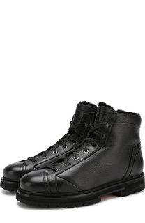 Кожаные ботинки с внутренней меховой отделкой Santoni